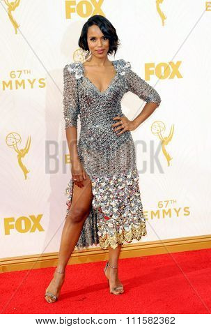LOS ANGELES, CA - SEPTEMBER 20, 2015: Kerry Washington at the 67th Annual Primetime Emmy Awards held at the Microsoft Theater in Los Angeles, USA on September 20, 2015.