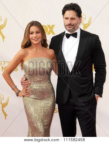 LOS ANGELES, CA - SEPTEMBER 20, 2015: Sofia Vergara and Joe Manganiello at the 67th Annual Primetime Emmy Awards held at the Microsoft Theater in Los Angeles, USA on September 20, 2015.