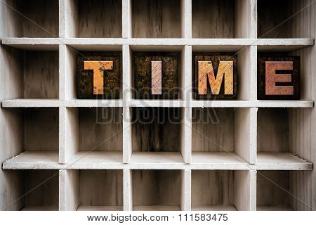 Time Concept Wooden Letterpress Type In Drawer