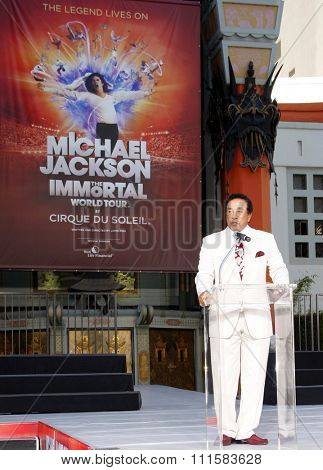Smokey Robinson at the Michael Jackson Hand And Footprint Ceremony held at the Grauman's Chinese Theater, California, United States on January 26, 2012.