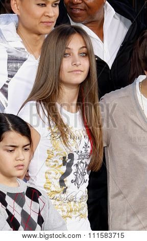 Blanket and Paris Jackson at the Michael Jackson Hand And Footprint Ceremony held at the Grauman's Chinese Theater, California, United States on January 26, 2012.