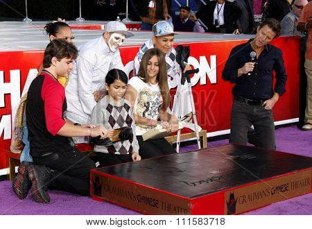 Prince Michael, Blanket and Paris Jackson at the Michael Jackson Hand And Footprint Ceremony held at the Grauman's Chinese Theater in Hollywood, USA on January 26, 2012.