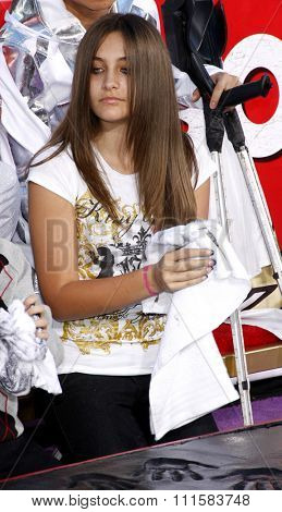 Paris Jackson at the Michael Jackson Hand And Footprint Ceremony held at the Grauman's Chinese Theater, California, United States on January 26, 2012.