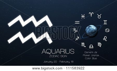 Zodiac sign - Aquarius. Cool astrologic infographics. Elements of this image furnished by NASA