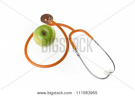 Green Apple Granny Smith With Medical Stethoscope Isolated