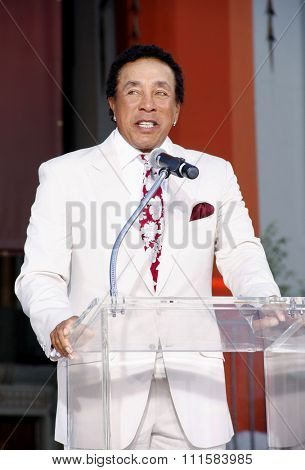 HOLLYWOOD, CA - JANUARY 26, 2012: Smokey Robinson at the Michael Jackson Immortalized held at the Grauman's Chinese Theatre in Los Angeles, USA on January 26, 2012.