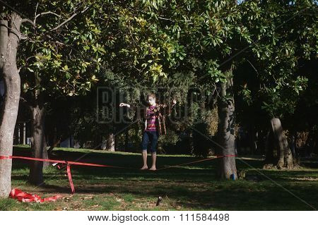 Funambulist Training In The Park