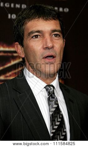 LOS ANGELES, CA - OCTOBER 16, 2005: Antonio Banderas at the Los Angeles premiere of 'The Legend of Zorro' held at the Orpheum Theater in Los Angeles, USA on October 16, 2005.