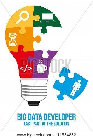 Big Data Developer Search Puzzle Design Concept