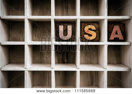 Usa Concept Wooden Letterpress Type In Drawer
