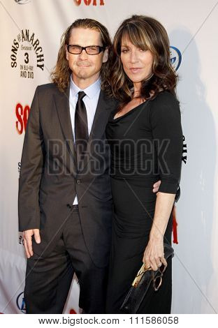 HOLLYWOOD, CALIFORNIA - August 30, 2011. Katey Sagal and Kurt Sutter at the Season 4 premiere of FX Network's