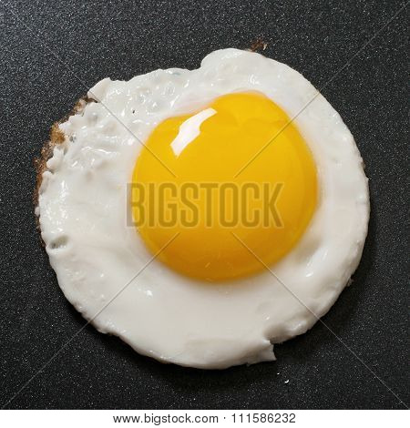 Fried Egg In A Frying Pan With Non-stick Coating