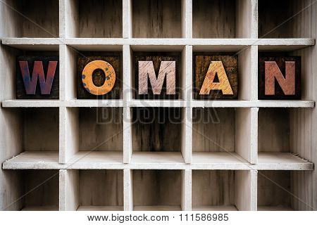 Woman Concept Wooden Letterpress Type In Drawer