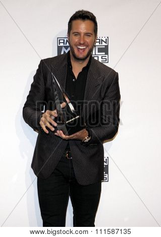 LOS ANGELES, CA - NOVEMBER 23, 2014: Luke Bryan at the 2014 American Music Awards held at the Nokia Theatre L.A. Live in Los Angeles on November 23, 2014.