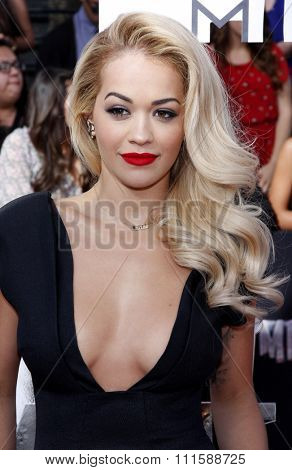 LOS ANGELES, CA - APRIL 13, 2014: Rita Ora at the 2014 MTV Movie Awards held at the Nokia Theatre L.A. Live in Los Angeles, USA on April 13, 2014.