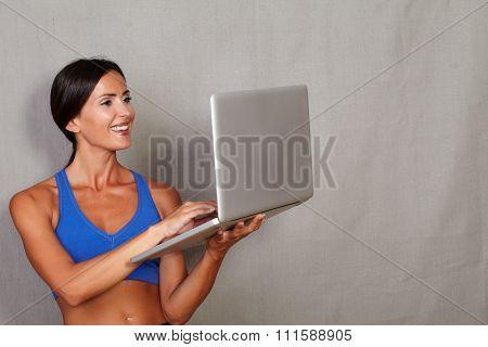 Straight Hair Woman Using Laptop Computer