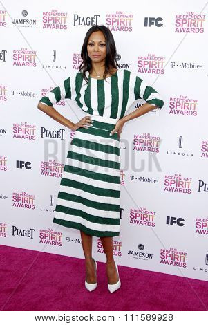 Zoe Saldana at the 2013 Film Independent Spirit Awards held at the Santa Monica Beach in Los Angeles, United States on February 23, 2013.
