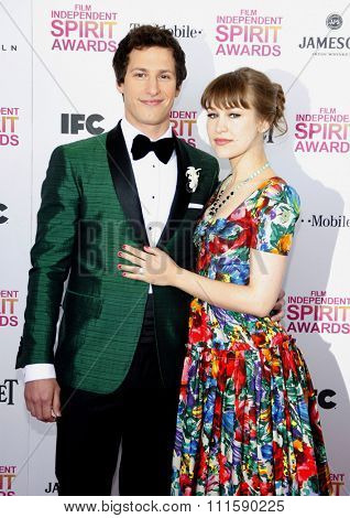 Joanna Newsom and Andy Samberg at the 2013 Film Independent Spirit Awards held at the Santa Monica Beach in Los Angeles, United States on February 23, 2013.