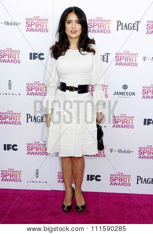 Salma Hayek at the 2013 Film Independent Spirit Awards held at the Santa Monica Beach in Los Angeles, United States on February 23, 2013.