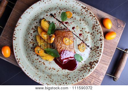 Duck Breast With Apples And Kumquats