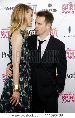 Leslie Bibb and Sam Rockwell at the 2013 Film Independent Spirit Awards held at the Santa Monica Beach in Los Angeles, United States on February 23, 2013.