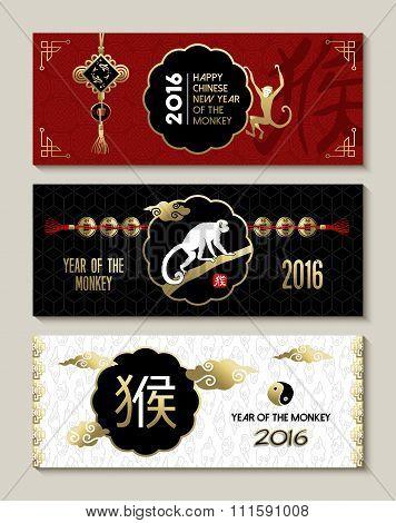Happy China New Year Monkey 2016 Label Banner Set