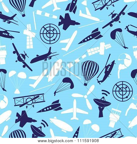 Aviation Icons Set Blue Seamless Pattern Eps10