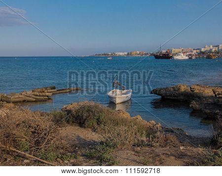 Fishing Boat On A Protaras Beach, Mediterranean Sea, Cyprus