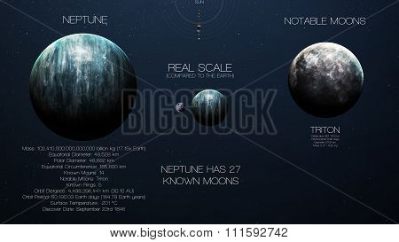 Neptune - High resolution infographics about solar system planet and its moons. All the planets avai