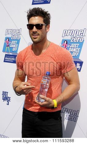 Maksim Chmerkovskiy at the Propel Zero Just Dance Off held at the Jimmy Kimmel Live! Studio Lot in Hollywood, USA on April 29, 2012.
