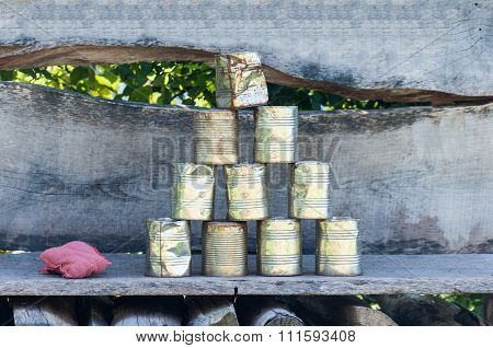 Tin Can Pyramid Game -at A Fair