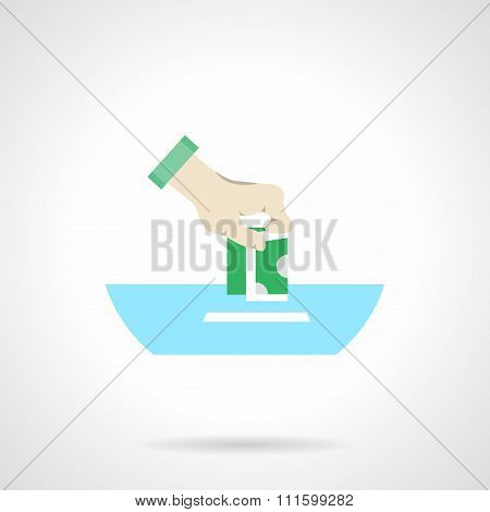 Abstract flat color vector icon for fundraising