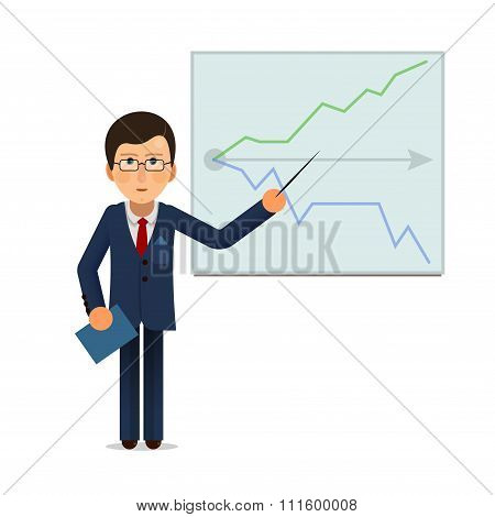 Business man standing with progress chart graph at presentation