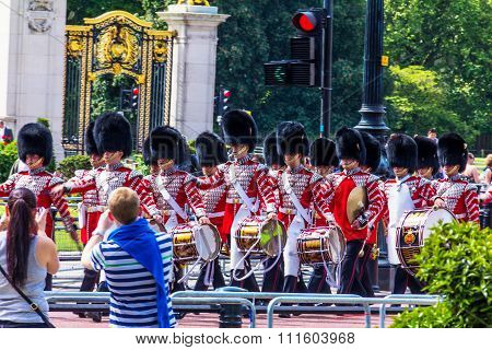 London, United Kingdom - June 4, 2015: British Guardsmen March Down The Mall In London - Outside Buc