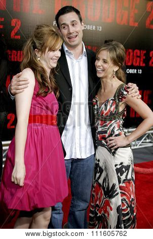 10/08/2006 - Buena Park - Amber Tamblyn, Freddie Prinze Jr. and wife Sarah Michelle Gellar attend the World Premiere of