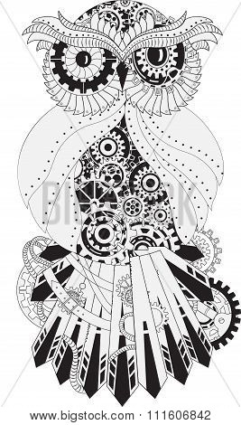 Steampunk outline vector owl with gear. Metallic steam punk owl made from steel. Vintage steampunk o