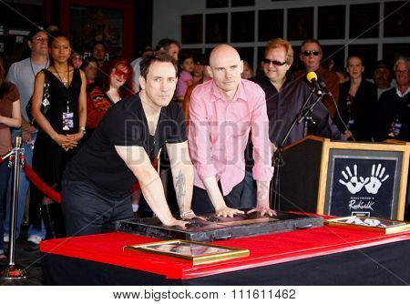 HOLLYWOOD, CALIFORNIA. April 23, 2008. Billy Corgan and Jimmy Chamberlin attend the Hollywood's RockWalk inducts The Smashing Pumpkins held at the Guitar Center in Hollywood, California United States.