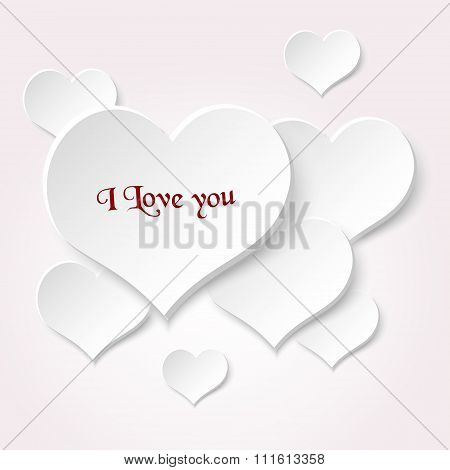 White Valentine Hearths From Paper With Love Text Eps10