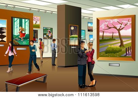 People Visiting An Art Gallery