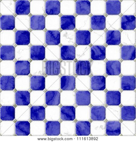 Blue White Floor Marble Square Tiles Seamless Pattern Texture