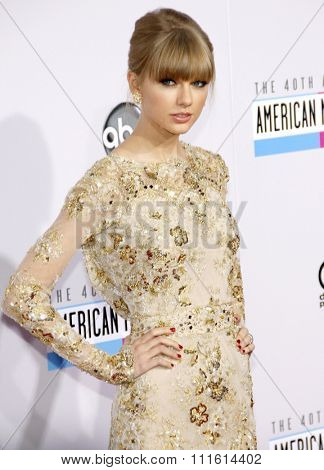 Taylor Swift at the 2012 American Music Awards held at the Nokia Theatre L.A. Live in Los Angeles, USA on November 18, 2012.