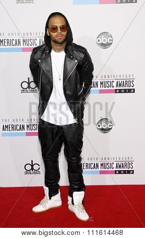 Chris Brown at the 2012 American Music Awards held at the Nokia Theatre L.A. Live in Los Angeles, USA on November 18, 2012.