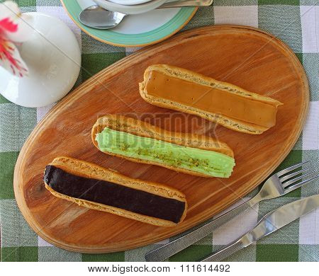 Eclair Cakes With Different Fillings