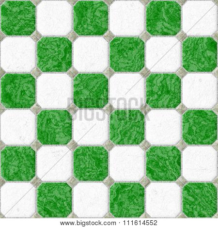 Green White Floor Marble Square Tiles Seamless Pattern Texture