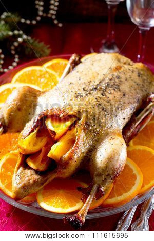 Christmas Duck With Orange Served On The Festive Table