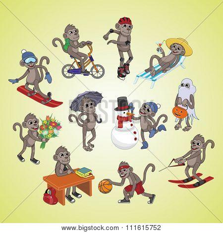 Set Of Active Monkeys