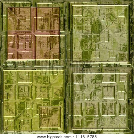 Green Glass Mosaic Square Tiles Seamless Pattern Texture
