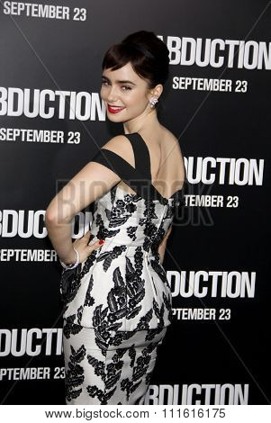 Lily Collins at the Los Angeles premiere of 'Abduction' held at the Grauman's Chinese Theatre in Hollywood, USA on September 15, 2011.