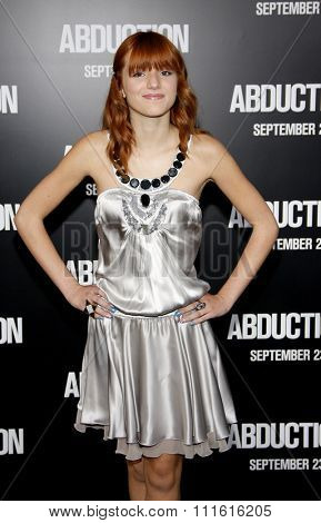 Bella Thorne at the Los Angeles premiere of 'Abduction' held at the Grauman's Chinese Theatre in Hollywood, USA on September 15, 2011.