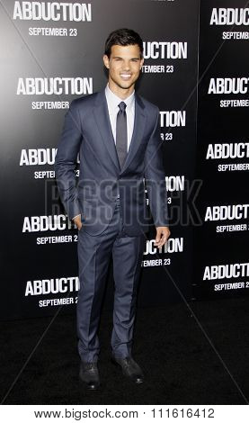Taylor Lautner at the Los Angeles premiere of 'Abduction' held at the Grauman's Chinese Theatre in Hollywood, USA on September 15, 2011.